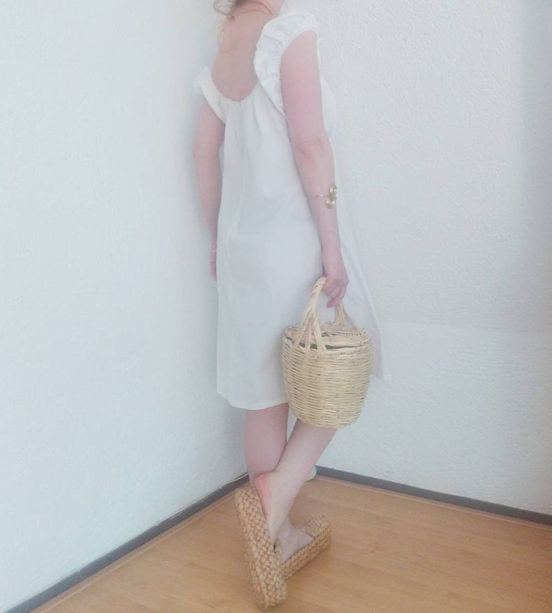 Vintage 90s White Cotton Dress ~ Made in France