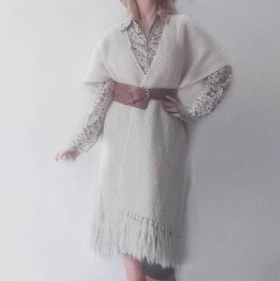 Vintage 70s Maxi Fringed Shawl Vest ~ Handmade in Wool