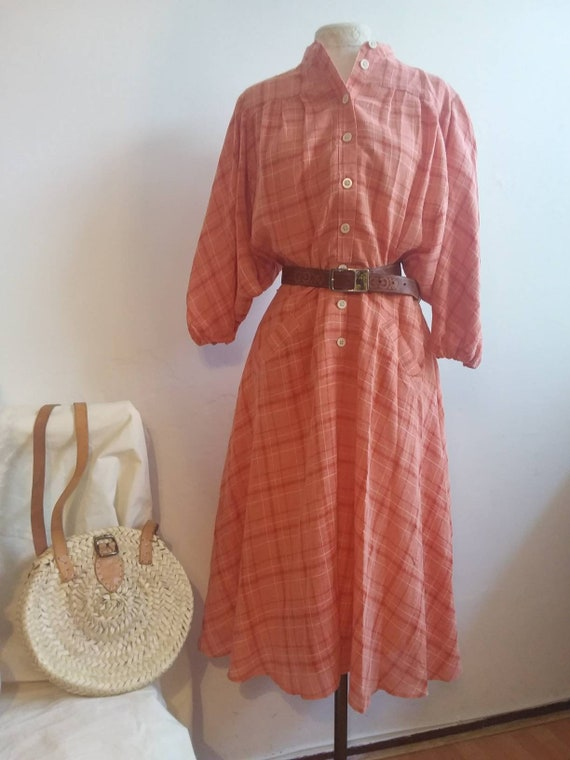 Vintage 70s/80s Gauzy Cotton Dress with Raglan Sleeves ~ Checked Midi Dress Chemisier  with Balloon Sleeves