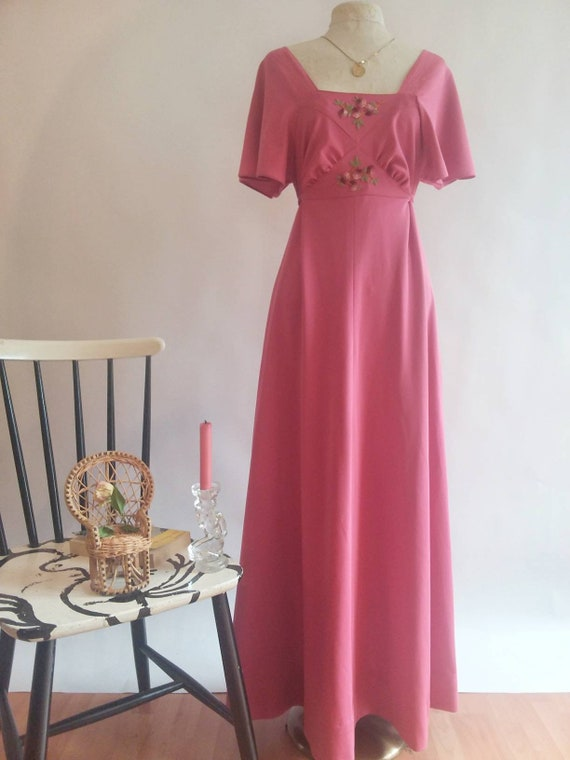 Vintage 70's Bohemian Maxi Dress ~ with Butterfly Sleeves ~ Made in Paris