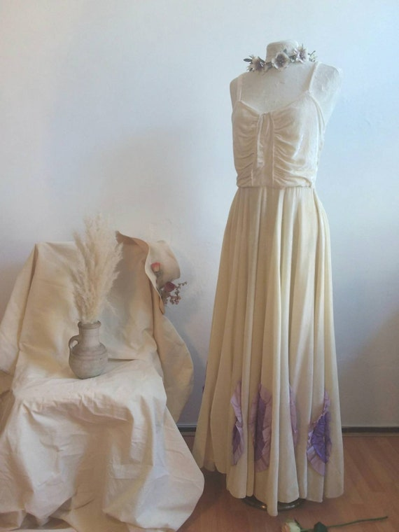 Vintage 40s Pale Yellow Maxi Dress with Violet Roses ~ Velvet 30s/40s Party Dress ~ Bridal Dress ~ Vintage Wedding
