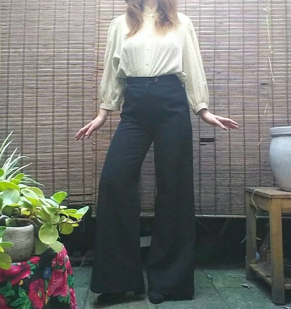 Vintage 70s Palazzo Pants ~ Black Wide Leg Trousers ~ Made in France