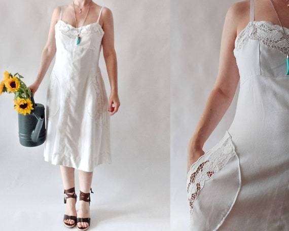 Vintage 60s White Cotton Dress with Crochet Details