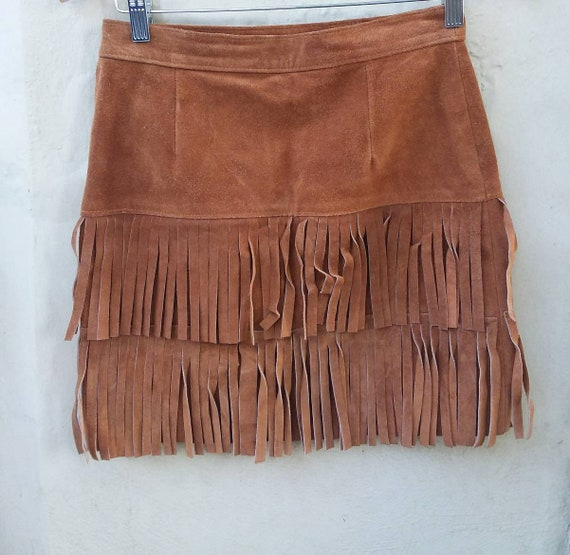 Vintage Suede Leather Skirt with Fringes ~ Made in Italy ~ Coachella Style ~ Boho Gipsy Festival Style