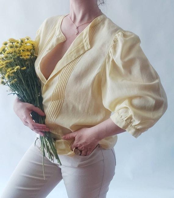 Vintage 90s Yellow Blouse in Gauzy Cotton