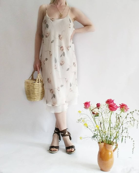 Vintage 90s Slip Dress with Spaghetti Straps ~ Pure Silk ~ Made in Italy