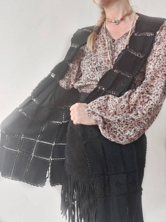 Vintage 70s Suede Leather Crochet Patchwork Vest ~ Bohemian Festival Style