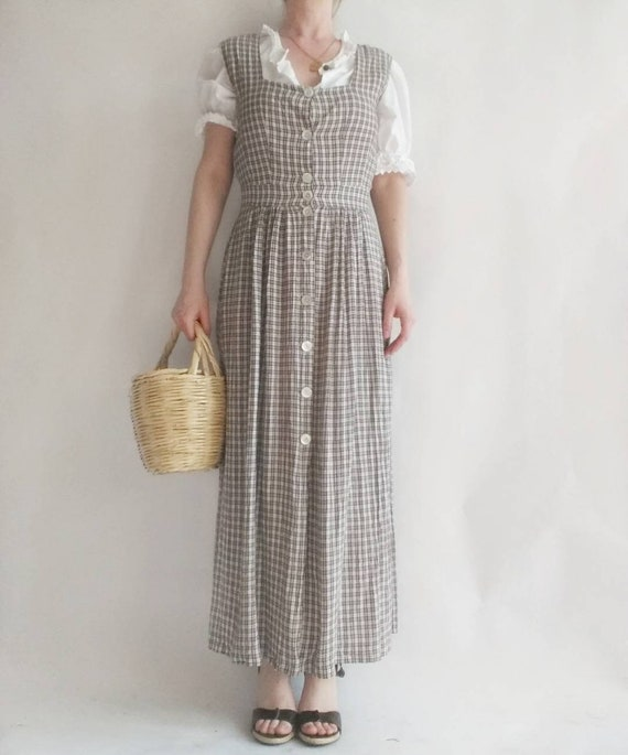 Vintage 90s Buttoned up Dress ~ Checked Print
