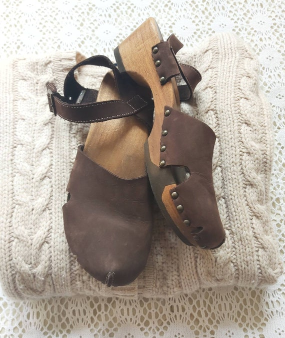 Dutch Wooden Clogs in Genuine Leather