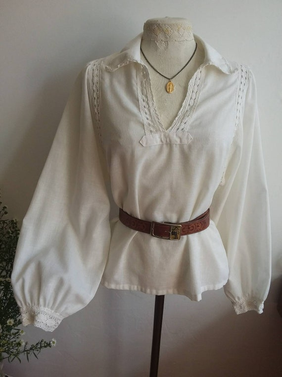 Vintage 70s White Cotton Linen Blouse with Balloon Sleeves and Crochet Details