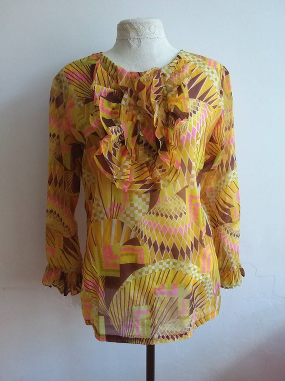 Vintage 60s Ruffled Blouse ~ Psychedelic Hippie Shirt with Victorian Ruches