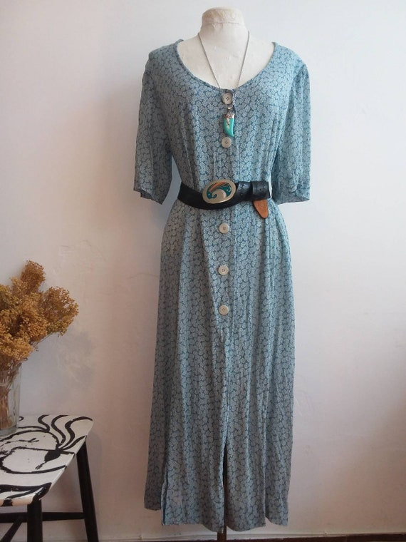 Vintage 90s Maxi Dress ~ Floral Buttoned up Dress ~ Romantic Grunge Style ~ Made in Italy