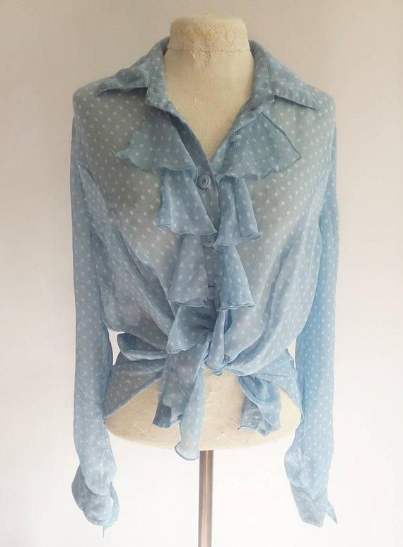 Vintage 70s/80s Chiffon Blouse ~ Blue Polka Dots Bohemian Ruffled Shirt