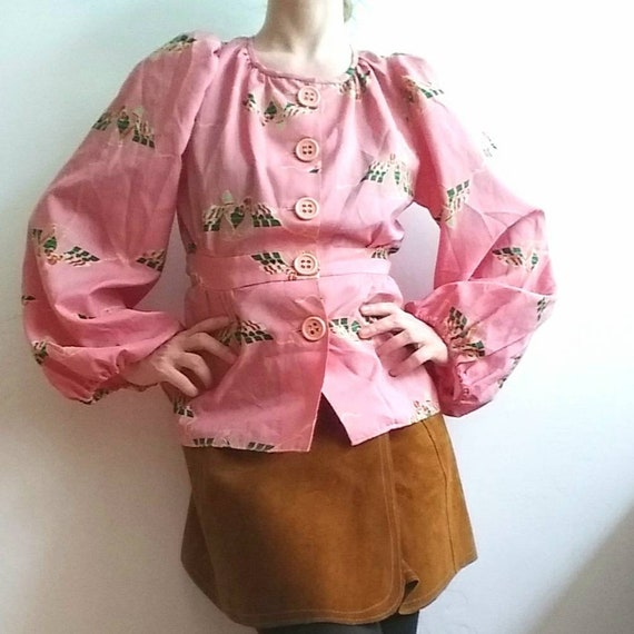 Vintage 70s Blouse with Maxi Balloon Sleeves