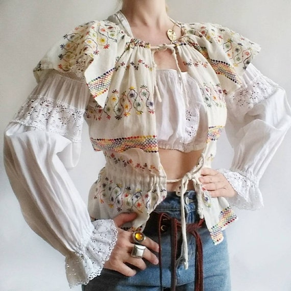 Vintage 70s Embroidered Gauzy Open Shirt and Lace Crop Top