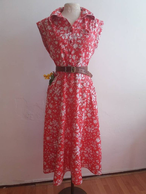 Vintage 70s Cotton Dress ~ Liberty Floral Pattern ~ Chemisier ~ French Country Bohemian Style