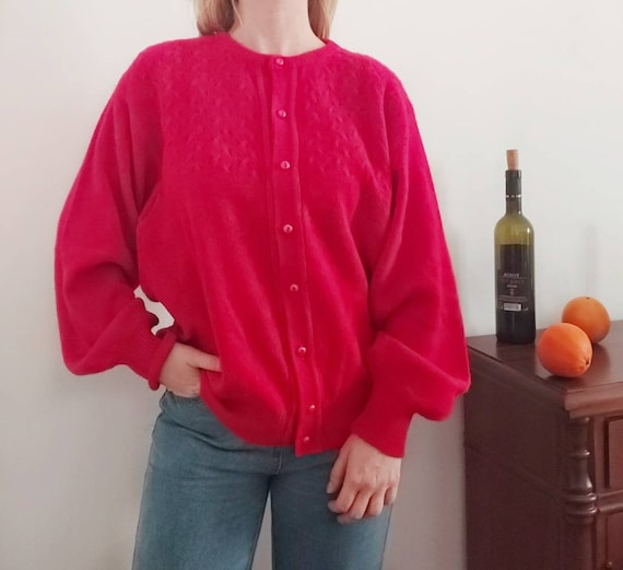 Vintage Angora Wool Cardigan Sweater ~ Made in Italy