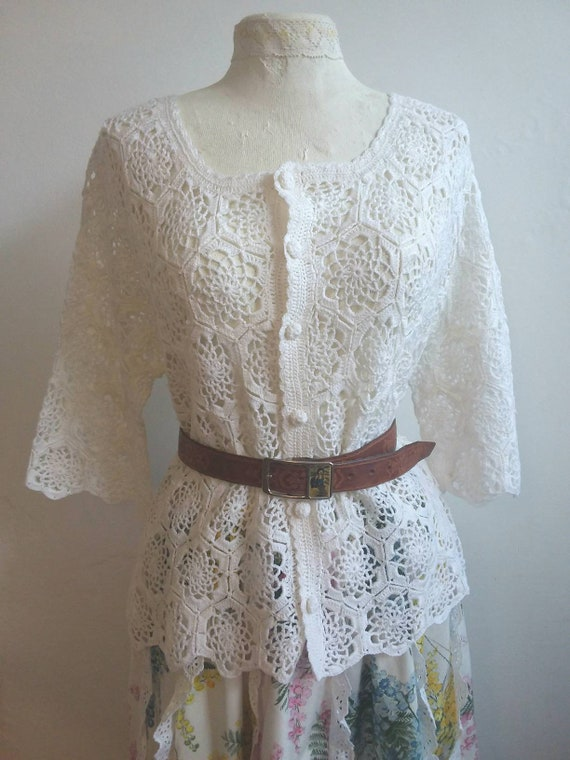 Vintage 60s Crochet Buttoned up Shirt ~ White Cotton Cardigan ~ Bohemian Antique Style