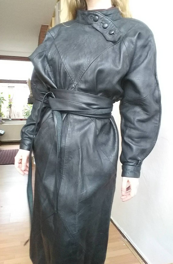 Vintage 80s Black Leather Dress with Raglan Sleeves ~ Rock Chic Buttoned up ~ Handmade