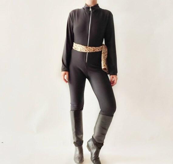 Vintage 80s Black Cat Suit