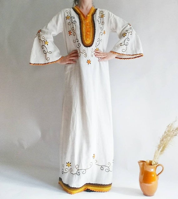 Vintage 70s Cheesecloth Dress - Bohemian Maxi Dress in White Cotton Floral Embroidery and Crochet. Bell Sleeves