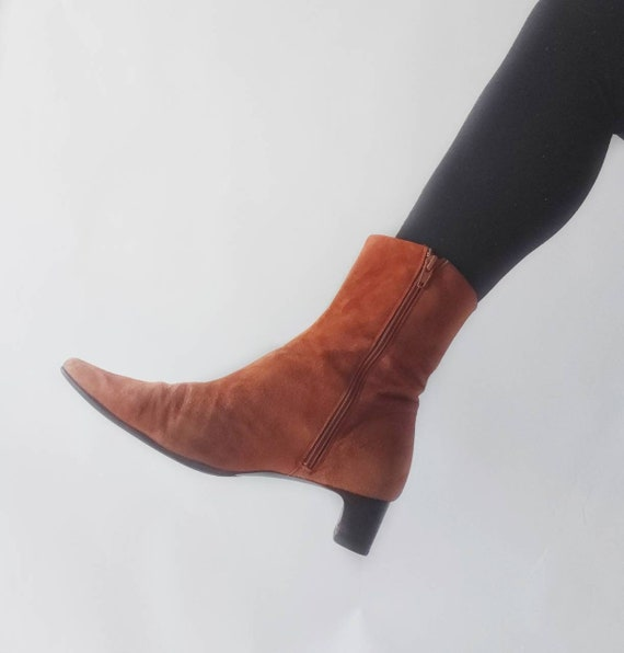 Vintage 90s Orange Suede Leather Ankle Boots