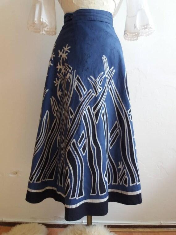 Vintage Batik Skirt ~ Handyed Ethnik Wrap Skirt ~ Cotton ~ Bohemian Festival Style