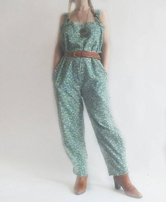 Vintage 80s Jumpsuit in Cotton ~ Floral Print
