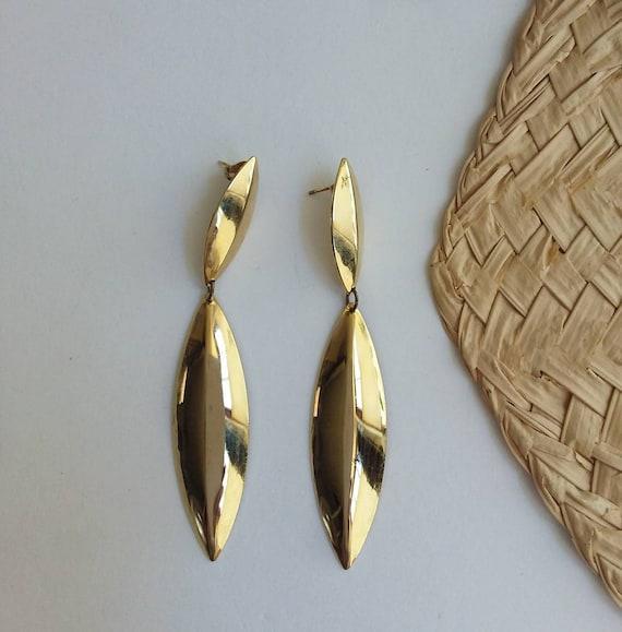 Vintage 70s Golden Earrings ~ Olive Leaves Pendants