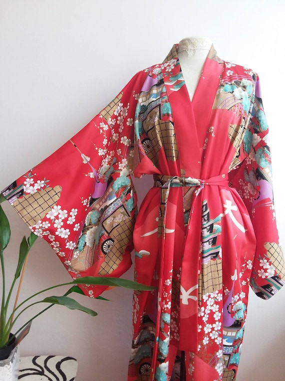 Vintage Kimono Dress ~ Made in Japan ~ Wide Sleeves ~ Bohemian Chic Style