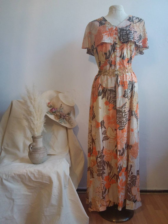 Vintage 70s Bohemian Dress ~ Floaty Peachy and Golden Maxi Dress with Ruffles ~ Hippie Boho Florence Welch Style