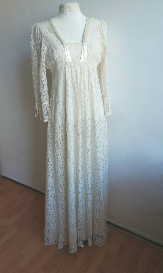 Vintage 60s/70s Bridal Dress ~ Hippie Wedding Dress in French Lace and Silk details ~ Bohemian Maxi Dress