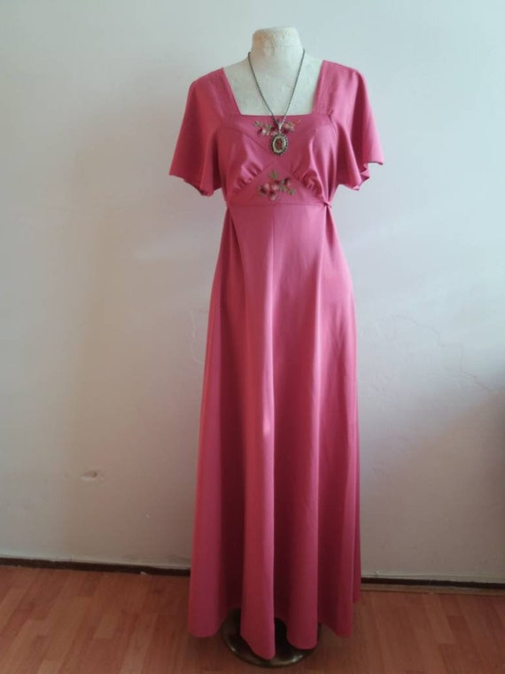 Vintage 70's Bohemian Maxi Dress ~ Pink Embroidered  Dress with Butterfly Sleeves ~ Made in Paris