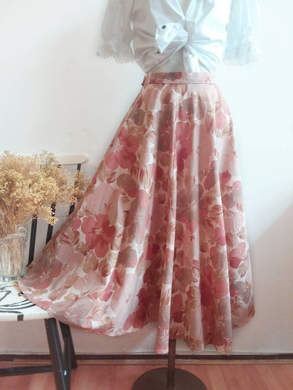 Vintage 70s Blush Cotton Skirt
