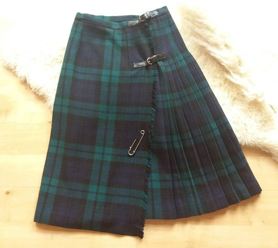 Vintage 70s Plaid Skirt ~ Green Tartan Pleated Wool Skirt ~ Made in England