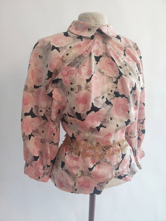 Vintage Floral Silk Blouse by Enrico Coveri ~ Made in Italy