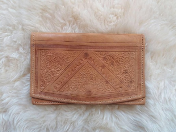 Desert Peach Clutch ~Vintage 70s Moroccon Tooled bag in Genuine Leather ~ Artisian piece ~Bohemian Style