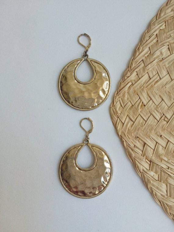 Vintage 70s Golden Earrings ~ Gipsy Hoops