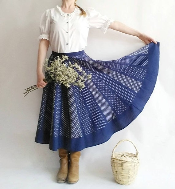 Vintage 70s Praerie Cotton Skirt in Patchwork Style