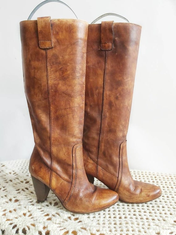 Vintage 80s Leather Boots ~ 36 size