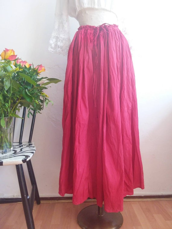 Vintage 70s Cotton Skirt ~ Hippie Gipsy Red Maxi Skirt