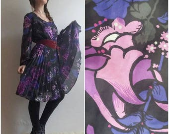 Vintage Late 60s Dress ~ Psychedelic Print Acid Pattern ~Magical Purple Flowers~Floaty Pleated Skirt
