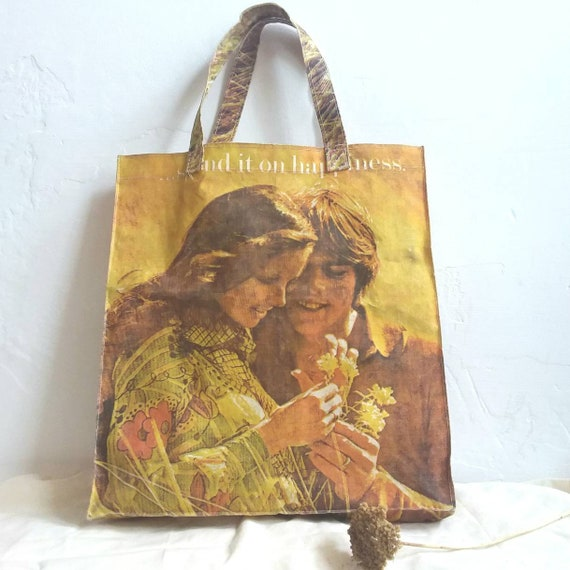 Vintage 70s Shopping Bag ~ Iconic Hippie Photo Print Flower Child ~ Spend it on Happiness