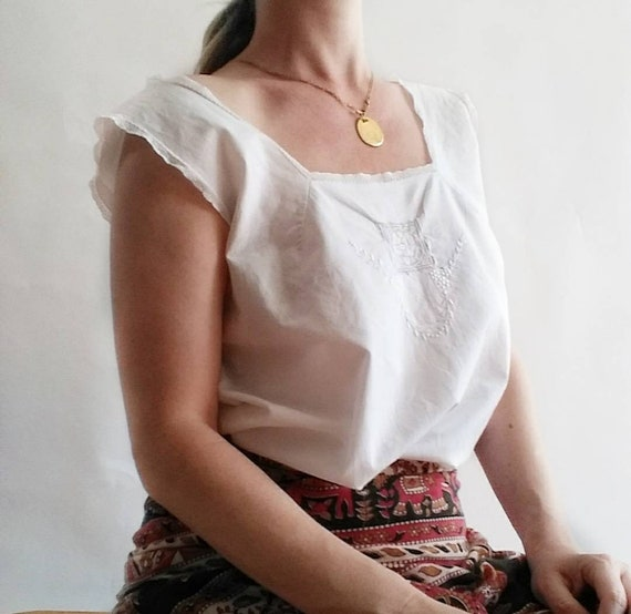 Antique 1910s White Cotton Camisole with Crochet and Embroidery ~ Handmade in Italy