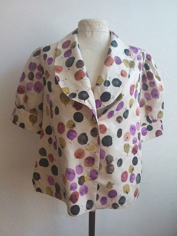 Vintage 60s Silk Blouse ~ Puffy Sleeves ~ Handmade in Italy