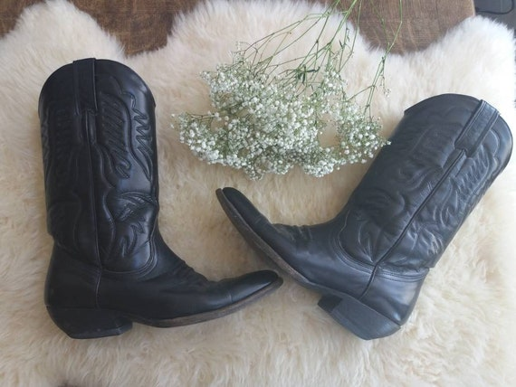 Vintage 80s Cow Boy Boots in Genuine Leather ~ Western Boho Festival Style