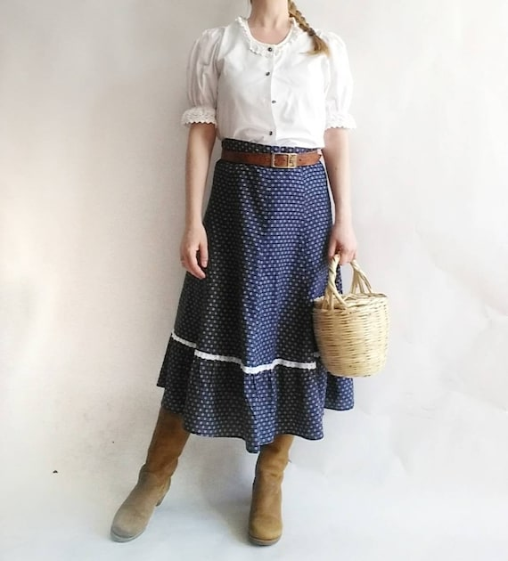 Vintage 70s Praerie Cotton Skirt with Lace