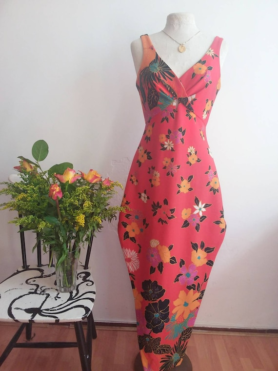Vintage 70s Cocktail Dress ~ Hippie Maxi Dress by Martine Alain ~ Cote D'Azur ~ Made in France