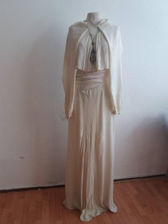 Vintage 1920s/30's Bridal Dress ~ Antique Silk White Dress with Balloon Sleeves ~ Satin Belt and Bralette ~ Bohemian Wedding