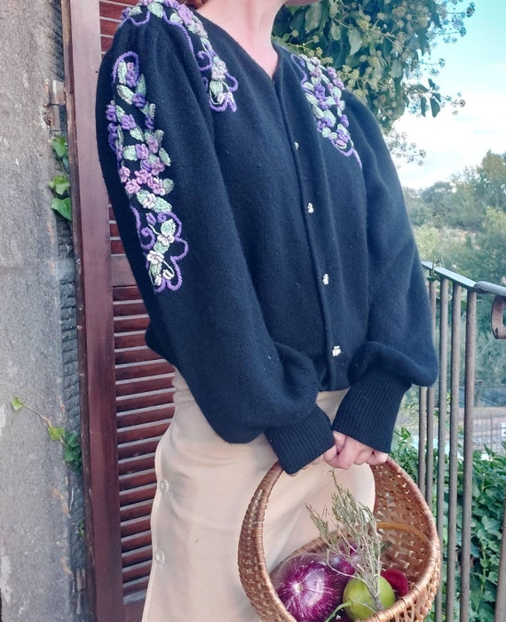 Vintage Embroided Cardigan ~ Angora and Lambswool